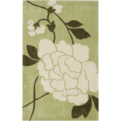 Modern Art Green/Ivory Rug Rug Size: 26 x 4