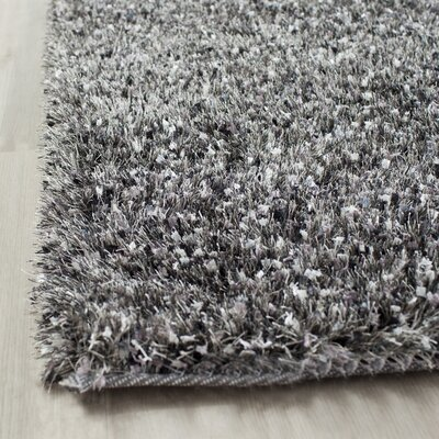 Anna Hand-Tufted/Hand-Hooked Charcoal Area Rug Rug Size: Square 7