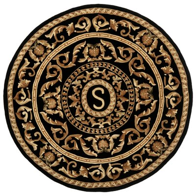 Naples Black S Area Rug Rug Size: Round 6