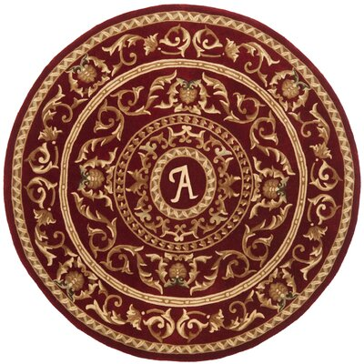Naples Burgundy A Area Rug Rug Size: Round 6