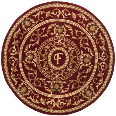 Naples Burgundy F Area Rug Rug Size: Round 6