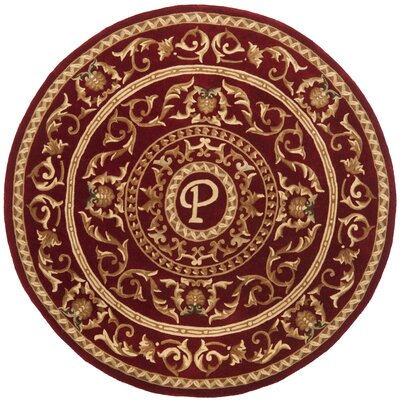 Naples Burgundy P Area Rug Rug Size: Round 6