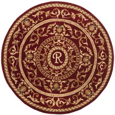 Naples Burgundy R Rug Rug Size: Round 6