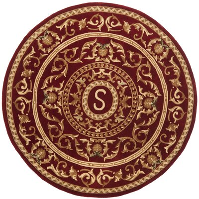 Naples Burgundy S Area Rug Rug Size: Round 6