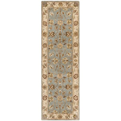 Royalty Blue/Beige Rug Rug Size: Runner 23 x 7