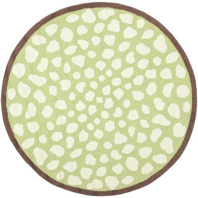 Claro Green & Ivory Area Rug Rug Size: Round 6