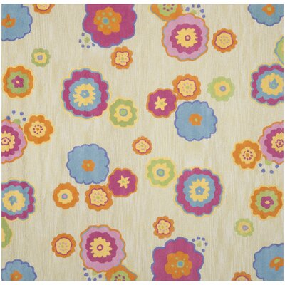 Claro Beige/Pink Area Rug Rug Size: Square 7