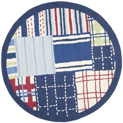 Kids Hand-Tufted Blue Area Rug Rug Size: Round 6