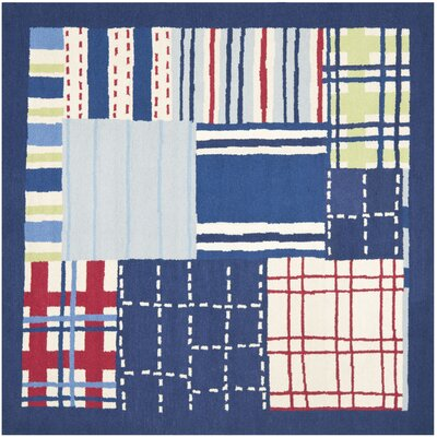 Kids Hand-Tufted Blue Area Rug Rug Size: Square 7 x 7