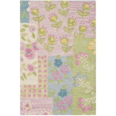 Kids Hand-Tufted Pink/Green Area Rug Rug Size: Rectangle 2 x 3