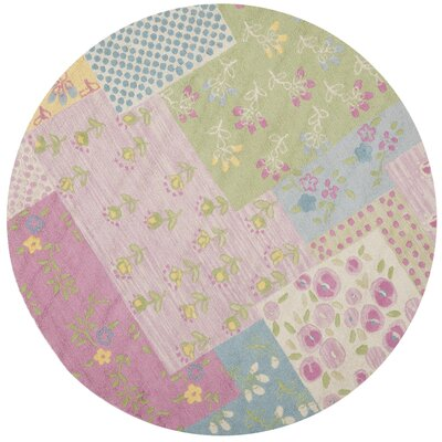 Kids Hand-Tufted Pink/Green Area Rug Rug Size: Round 6 x 6