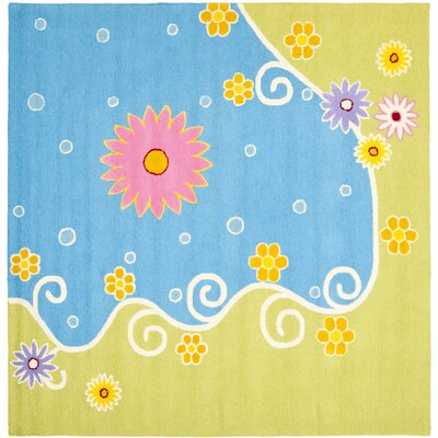 Claro Blue/Green Floral Area Rug Rug Size: Square 7