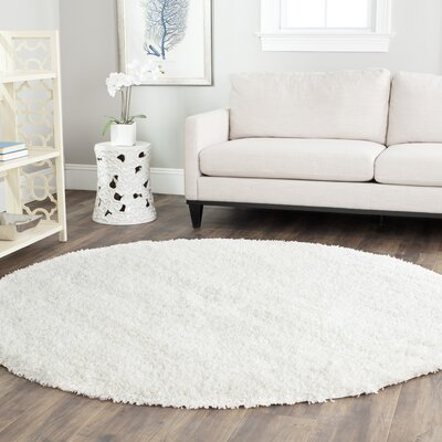 Holliday White Area Rug Rug Size: Round 67