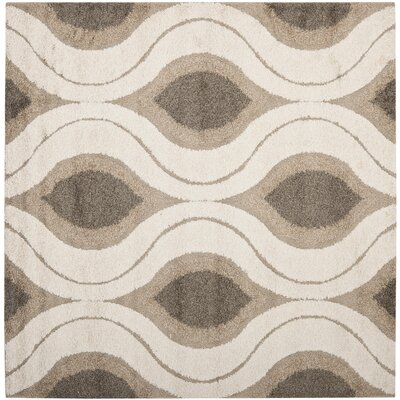 Fulton Cream/Smoke Shag Area Rug Rug Size: Square 5