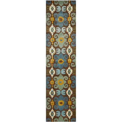 Dorthy Brown/Blue Rug Rug Size: Runner 26 x 10