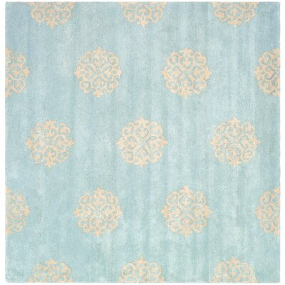 Backstrom Hand-Tufted Turquoise / Yellow Area Rug Rug Size: Square 4'