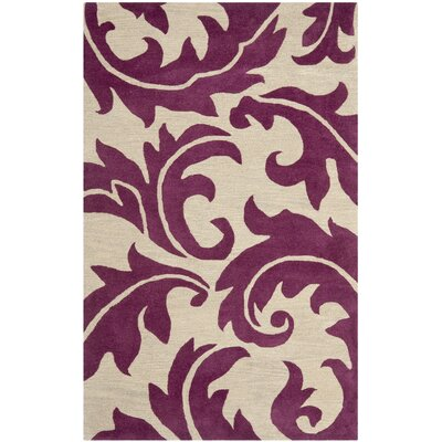 Soho Purple/Beige Area Rug Rug Size: 5 x 8