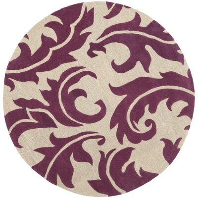 Soho Purple/Beige Area Rug Rug Size: Round 6