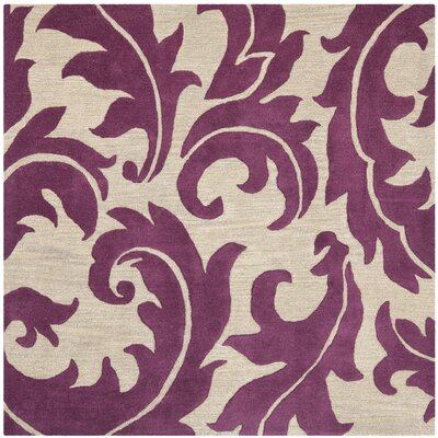 Soho Purple/Beige Area Rug Rug Size: Square 6