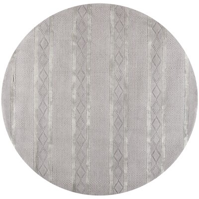 Soho Hand-Woven Wool Light Gray Outdoor Area Rug Rug Size: Round 6