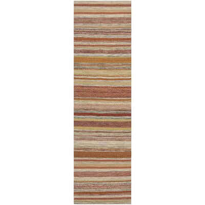 Striped Kilim Hand Woven Wool Brown/Beige Area Rug Rug Size: Runner 23 x 8