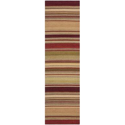 Striped Kilim Red Rug Rug Size: Runner 23 x 8