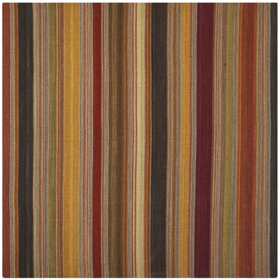 Striped Kilim Gold Rug Rug Size: Square 7