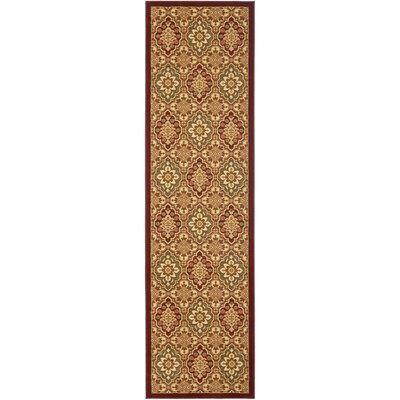 Treasures Red/Ivory Rug Rug Size: Runner 22 x 8