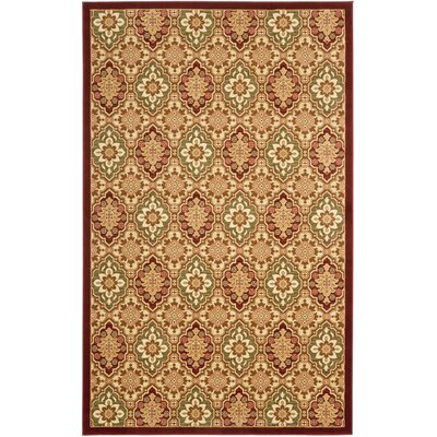 Treasures Red/Ivory Rug Rug Size: Rectangle 4 x 6