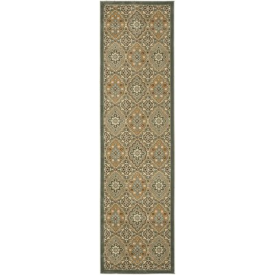 Treasures Blue/Gold Rug Rug Size: Runner 22 x 8