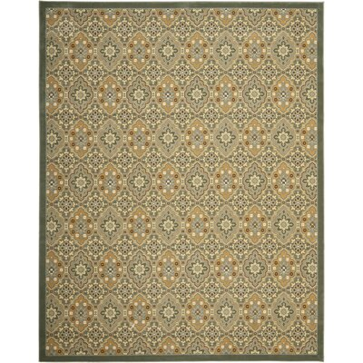 Treasures Blue/Gold Rug Rug Size: Rectangle 89 x 12