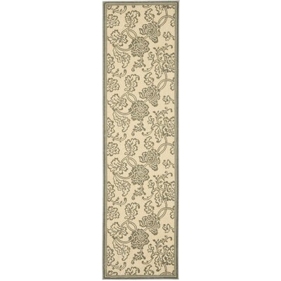 Treasures Ivory/Blue Rug Rug Size: Runner 22 x 8