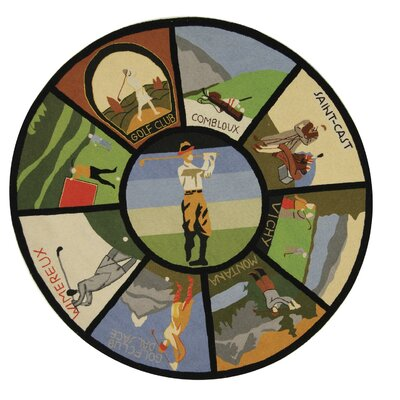 Vintage Posters Golf Collage Novelty Rug Rug Size: Round 5