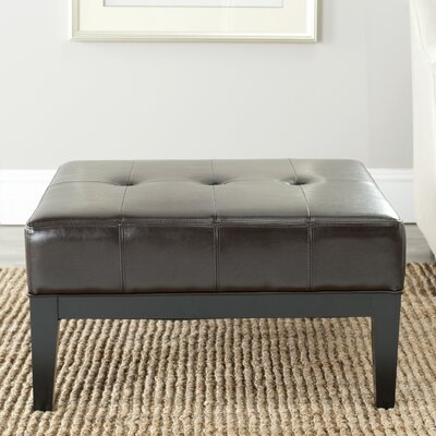Fulton Leather Ottoman Upholstery: Brown