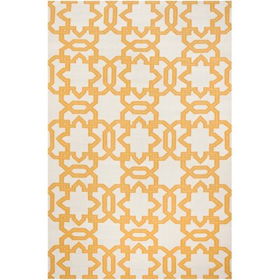 Dhurries Wool Orange/Ivory Area Rug Rug Size: Rectangle 4 x 6