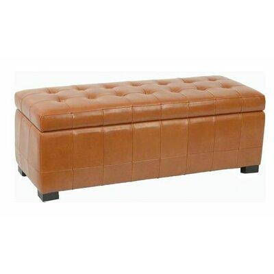 Manhattan Leather Storage Ottoman Color: Saddle