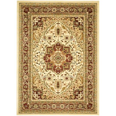 Theresa Ivory/Red Area Rug Rug Size: Rectangle 12 x 18