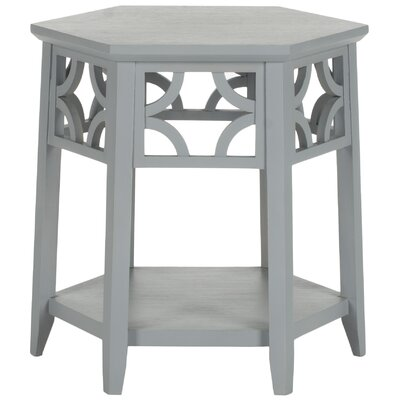 Connor Hexagon End Table Color: Pearl Blue Grey
