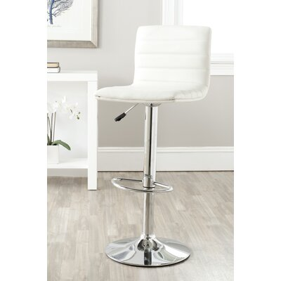 Arissa Adjustable Height Swivel Bar Stool Upholstery: White