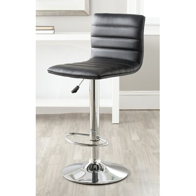 Arissa Adjustable Height Swivel Bar Stool Upholstery: Black