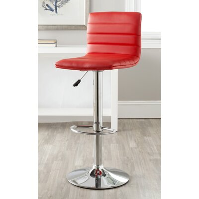 Arissa Adjustable Height Swivel Bar Stool Upholstery: Red