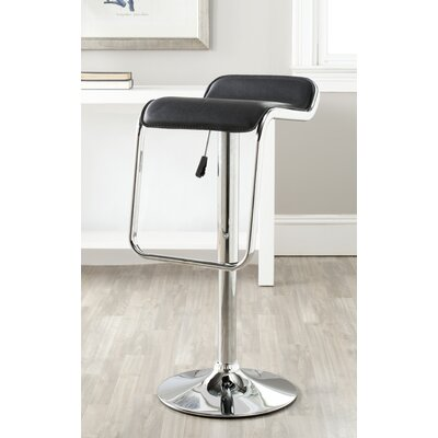 Taronda Adjustable Height Swivel Bar Stool Upholstery: Black