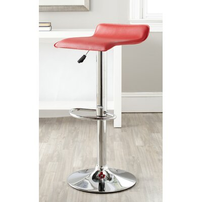 Sheba Adjustable Height Swivel Bar Stool Upholstery: Red