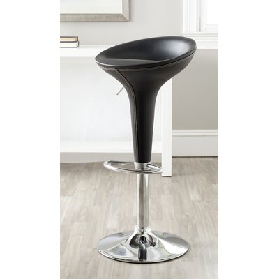Shedrack Adjustable Height Swivel Bar Stool Color: Black
