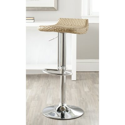 Juji Adjustable Height Swivel Bar Stool Upholstery: Wicker Natural