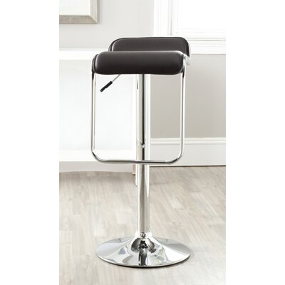 Taronda Adjustable Height Swivel Bar Stool Upholstery: Brown