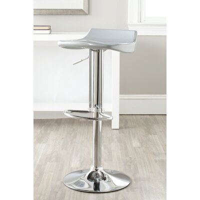 Avish Adjustable Height Swivel Bar Stool Upholstery: Silver