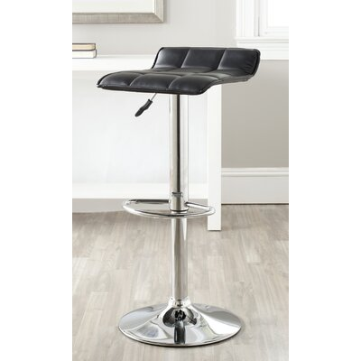 Lamita Adjustable Height Swivel Bar Stool Upholstery: Black