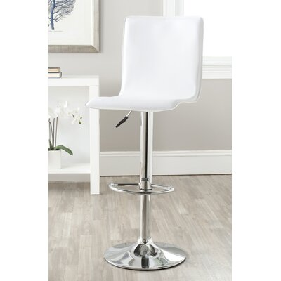 Magda Adjustable Height Swivel Bar Stool Upholstery: White