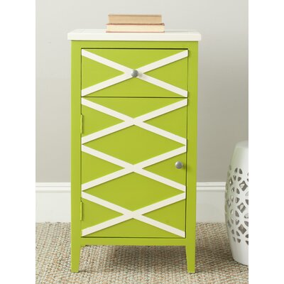 Brandy 1 Door Cabinet Finish: Green / White